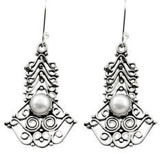Clearance Sale- 2.74cts natural white pearl 925 sterling silver dangle earrings jewelry d40683