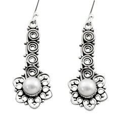 Clearance Sale- 2.66cts natural white pearl 925 sterling silver dangle earrings jewelry d40686