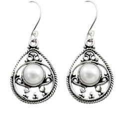 Clearance Sale- 5.38cts natural white pearl 925 sterling silver dangle earrings jewelry d40718