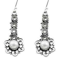 Clearance Sale- 2.58cts natural white pearl 925 sterling silver dangle earrings jewelry d40721
