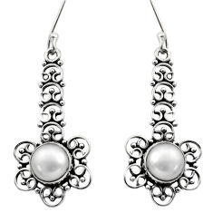 Clearance Sale- 6.36cts natural white pearl 925 sterling silver dangle earrings jewelry d40723