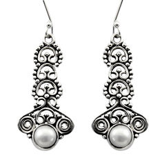 Clearance Sale- 2.35cts natural white pearl 925 sterling silver dangle earrings jewelry d40737