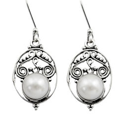 Clearance Sale- 4.22cts natural white pearl 925 sterling silver dangle earrings jewelry d40739