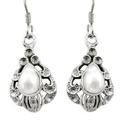4.93cts natural white pearl 925 sterling silver dangle earrings jewelry d46818