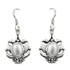 4.37cts natural white pearl 925 sterling silver dangle earrings jewelry d46836
