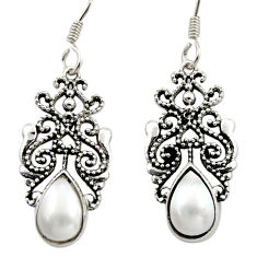 4.69cts natural white pearl 925 sterling silver dangle earrings jewelry d46895