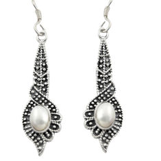 3.31cts natural white pearl 925 sterling silver dangle earrings jewelry d46978