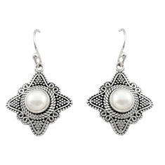 2.35cts natural white pearl 925 sterling silver dangle earrings jewelry d47016