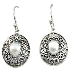 3.44cts natural white pearl 925 sterling silver dangle earrings jewelry d47136
