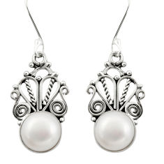 10.31cts natural white pearl 925 sterling silver dangle earrings jewelry d47569