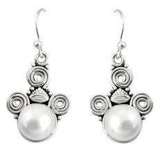 7.33cts natural white pearl 925 sterling silver dangle earrings jewelry r19917