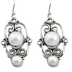 5.75cts natural white pearl 925 sterling silver dangle earrings jewelry r21696