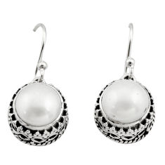 6.33cts natural white pearl 925 sterling silver dangle earrings jewelry r21842