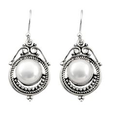 8.55cts natural white pearl 925 sterling silver dangle earrings jewelry r30841