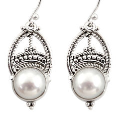 8.77cts natural white pearl 925 sterling silver dangle earrings jewelry r31025