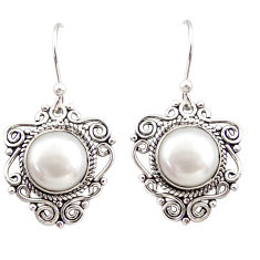 7.54cts natural white pearl 925 sterling silver dangle earrings jewelry r31051