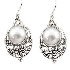 8.19cts natural white pearl 925 sterling silver dangle earrings jewelry r31072