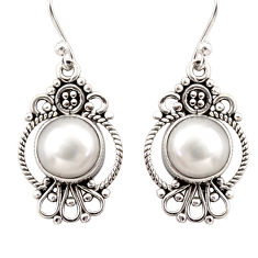 7.24cts natural white pearl 925 sterling silver dangle earrings jewelry r31114