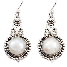 6.82cts natural white pearl 925 sterling silver dangle earrings jewelry r31263