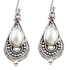 4.18cts natural white pearl 925 sterling silver dangle earrings jewelry r31282
