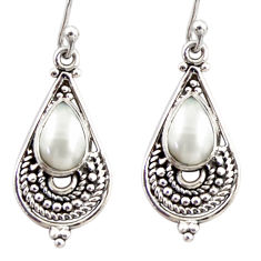 4.19cts natural white pearl 925 sterling silver dangle earrings jewelry r31283