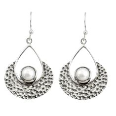 1.96cts natural white pearl 925 sterling silver dangle earrings jewelry r39097