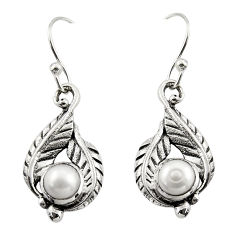 1.94cts natural white pearl 925 sterling silver dangle earrings jewelry r42913