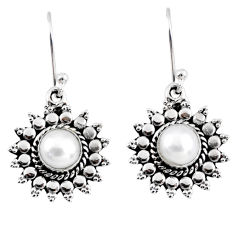 2.82cts natural white pearl 925 sterling silver dangle earrings jewelry r55165