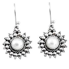 2.81cts natural white pearl 925 sterling silver dangle earrings jewelry r55166