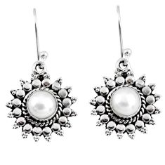 2.44cts natural white pearl 925 sterling silver dangle earrings jewelry r55193