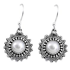 2.41cts natural white pearl 925 sterling silver dangle earrings jewelry r55234