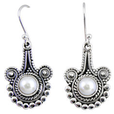 3.13cts natural white pearl 925 sterling silver dangle earrings jewelry r55290
