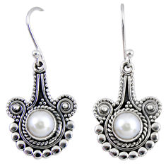 2.66cts natural white pearl 925 sterling silver dangle earrings jewelry r55292