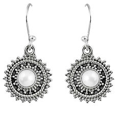 1.94cts natural white pearl 925 sterling silver dangle earrings jewelry r59514