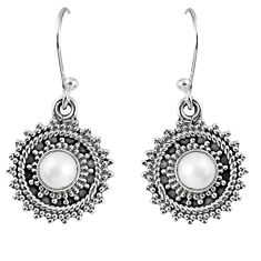 1.94cts natural white pearl 925 sterling silver dangle earrings jewelry r59515