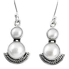 7.91cts natural white pearl 925 sterling silver dangle earrings jewelry r59534