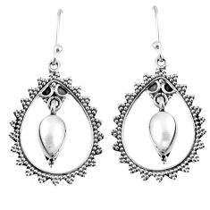 4.28cts natural white pearl 925 sterling silver dangle earrings jewelry r59654
