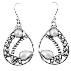 5.42cts natural white pearl 925 sterling silver dangle earrings jewelry r59877