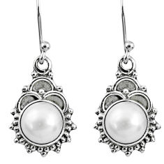 5.23cts natural white pearl 925 sterling silver dangle earrings jewelry r60434