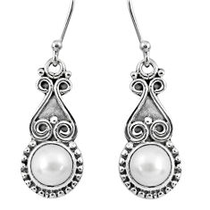 5.54cts natural white pearl 925 sterling silver dangle earrings jewelry r60475