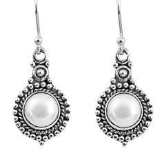 5.38cts natural white pearl 925 sterling silver dangle earrings jewelry r60476