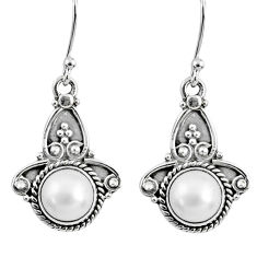 5.10cts natural white pearl 925 sterling silver dangle earrings jewelry r60494