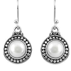 5.38cts natural white pearl 925 sterling silver dangle earrings jewelry r60532