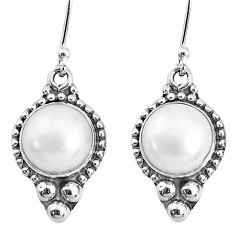 9.99cts natural white pearl 925 silver handmade dangle earrings r74950