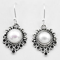 4.42cts natural white pearl 925 sterling silver dangle earrings jewelry t26907