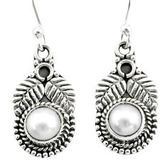 1.75cts natural white pearl 925 sterling silver dangle earrings jewelry t35975