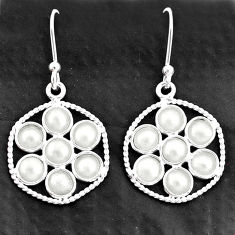 5.11cts natural white pearl 925 sterling silver dangle earrings jewelry t4609