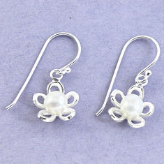 Natural white pearl 925 sterling silver dangle flower earrings jewelry c20215