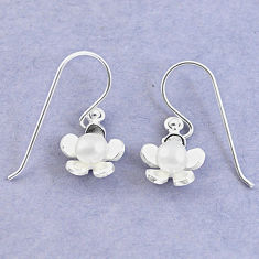 Natural white pearl 925 sterling silver dangle flower earrings jewelry c25468