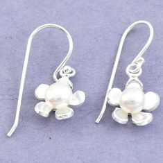 Natural white pearl 925 sterling silver dangle flower earrings jewelry c25661